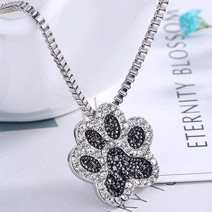 Jewelry - PREVIEW Dog/Cat Paw Print Black White CZ Necklace